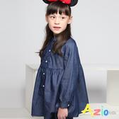 Azio女童 上衣 牛仔連身縮腰排釦長版長袖上衣 (藍) Azio Kids 美國派 童裝