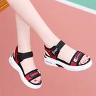 運動氣墊涼鞋女2021新款夏季紅色魔術貼時尚百搭厚底學生平底鞋子 快速出貨