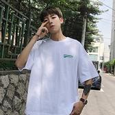 夏季短袖t恤男士正韓潮流體恤純棉半袖寬鬆港風五分袖衣服
