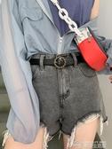 皮帶圓形針扣皮帶女士酷時尚百搭學生簡約韓版復古腰帶ins風牛仔褲帶 夢想生活家