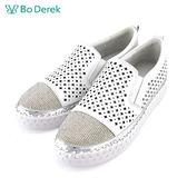 【Bo Derek 】水鑽十字簍空休閒鞋-白色