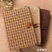 草編織日記本文具禮品素雅文藝復古筆記本創意手工記事本子 金曼麗莎