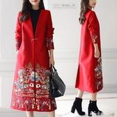 禮服 敬酒服新娘冬季紅色中長款連身裙女孕婦回門訂婚新款結婚禮服聖誕節