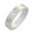 Cartier 卡地亞 Love Wedding Ring 單鑽18K白金戒指 #48【二手名牌BRAND OFF】