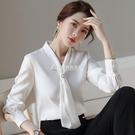 雪紡白色襯衫女設計感小眾春季新款韓版時尚洋氣長袖職業襯衣 快速出貨