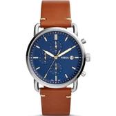 【台南 時代鐘錶 FOSSIL】FS5401 通勤者系列 務實風格三眼計時腕錶 皮帶 藍/棕色 42mm 公司貨開發票
