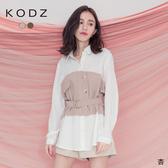 東京著衣【KODZ】氣質百分百假兩件附綁帶造型襯衫/上衣-S.M.L(182596)