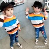 男童長袖上衣-男童秋裝兒童衛衣洋氣新款純棉長袖t恤上衣韓版童裝女款秋裝男潮 多麗絲