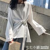 女秋裝2019年新款潮港味收腰顯瘦不規則下擺開叉白色長袖T恤上衣
