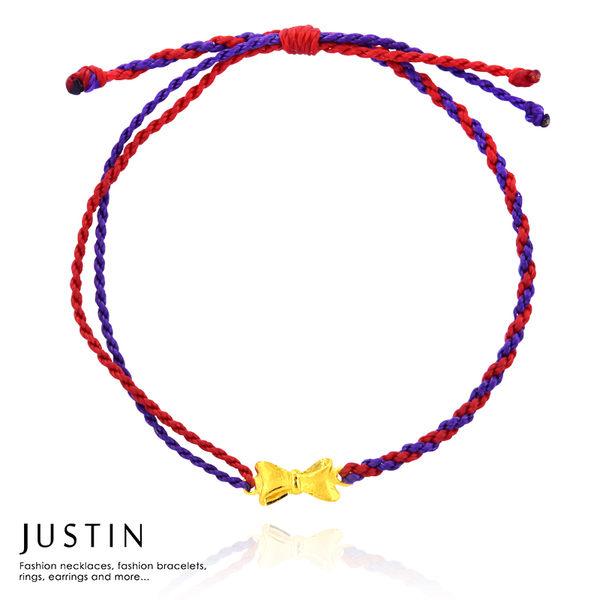 Justin金緻品 黃金蠟繩手鍊 幸福蝴蝶結 金飾 9999純金 好運紅繩 蠶絲蠟線 幸運繩