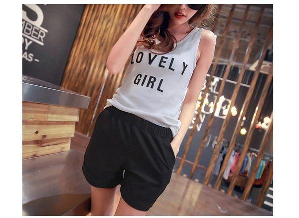 TwinS 韓版夏季糖果色寬鬆翻邊 鬆緊帶女士休閒短褲 棉麻短褲熱褲