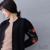 【慢。生活】精繡花金屬拉鍊針織夾克-F FREE黑色