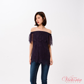 Victoria 鬆緊平肩全蕾絲短袖T-女-V85419