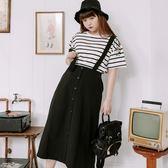 Poly Lulu 簡約純色排扣吊帶中長裙-黑【95260068】