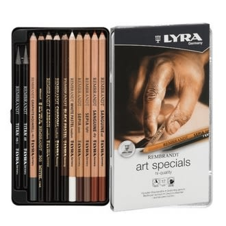 【德國 LYRA】2001123  林布蘭專業素描炭精筆(12件鐵盒) /盒
