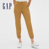 Gap女裝 棉質舒適鬆緊休閒褲 467883-黃藍條紋