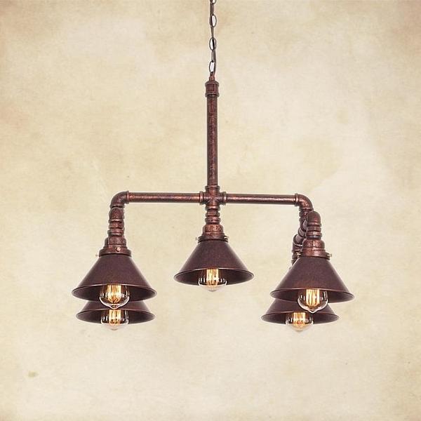 吊燈 美式鄉村 loft酒吧咖啡店吧臺復古燈飾創意個性工業風水管吊燈具(定金鏈接,下標前洽談)