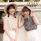 Queen Shop【01023404】滿版碎花雪紡無袖襯衫 兩色售*現+預*
