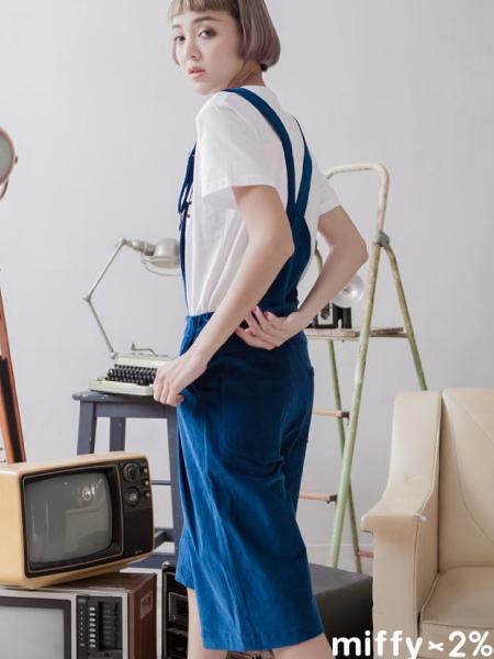 【2%】 miffy X 2% 米飛燈心絨連身五分褲_藍