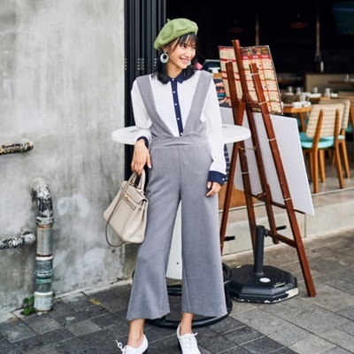 闊腿吊帶褲-韓版時尚寬鬆修飾顯瘦女長褲2色73qv12[巴黎精品]