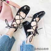 甜美名媛風系帶羅馬鞋綁帶粗跟高跟