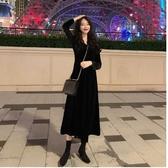 秋冬連身裙法式2020新款復古赫本風長裙小黑裙紅色拜年紅裙裙子女