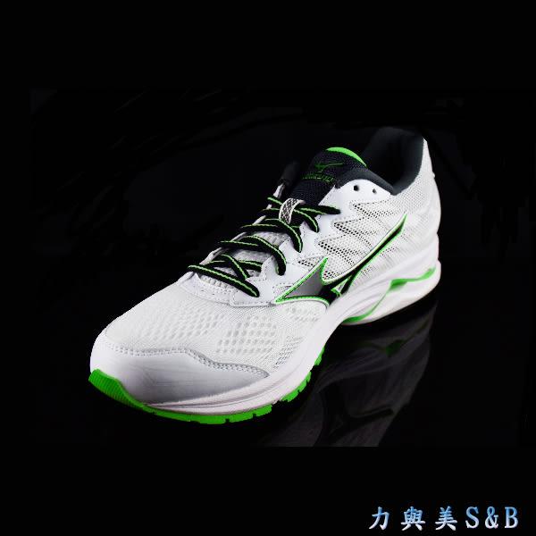MIZUNO  男慢跑鞋 WAVE RIDER 20 避震性佳 舒適好穿 白色鞋面  【1112】