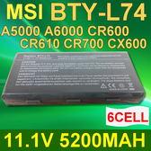 MSI 6芯 BTY-L74 日系電芯 電池 CR600 CX500 CR610 CR620 CR630 CX620MX CX620X CX700 91NMS17LF6SU1
