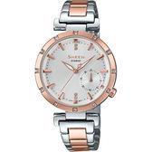 【台南 時代鐘錶 CASIO】SHEEN 宏崑公司貨 SHE-4051SPG-7A 蜜桃金水晶元素優雅時尚腕錶