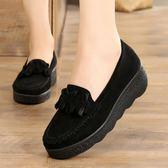 春秋老北京布鞋豆豆女鞋鬆糕厚底坡跟中跟淺口黑色女工作單鞋