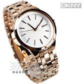DKNY 時尚玫瑰金 滿版LOGO腕錶 不銹鋼帶女錶 時間玩家 NY2383 防水手錶