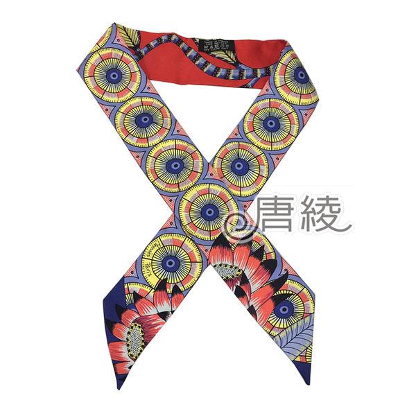 【Hermes 愛馬仕】The Savana Dance繽紛造型Twilly絲巾/領結(紅X黃色)