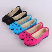 豆豆鞋女布鞋平跟防滑黑色平底上班士工作休閒舒適豆豆單鞋 愛麗絲精品