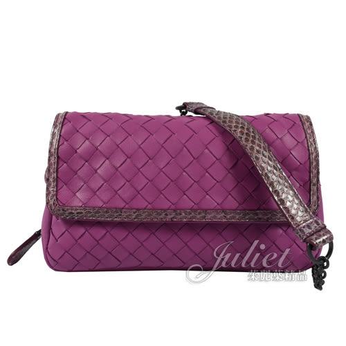 茱麗葉精品 全新精品 BOTTEGA VENETA 370342 經典編織羊皮斜背晚宴鍊包.紫