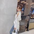 限時特價 不規則襯衣女長袖秋季新款露肩系帶蝴蝶結白色上衣設計感小眾