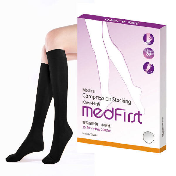 Medfirst 專業醫療彈性襪 220D小腿襪 (黑色,S號/M號/L號/XL號,可選)【杏一】