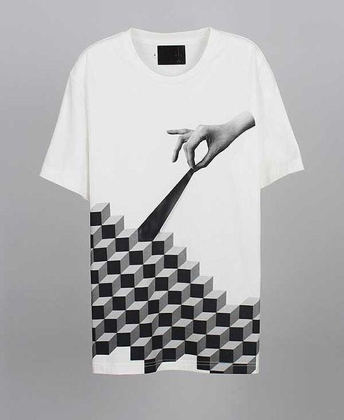 【摩達客】韓國進口EXO合作設計品牌DBSW Cube Leak立方體白色純棉短T短袖T恤時尚潮T(10415098005)