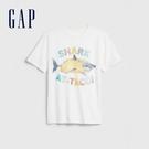 Gap男童創意風格圓領短袖T恤573647-光感亮白