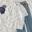 夏季新款韓版趣味印花短袖襯衫女ins寬松百搭白色學生開衫襯衣服