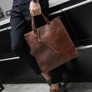英倫復古商務手提包休閒時尚郵差側背斜跨電腦包潮 黛尼時尚精品
