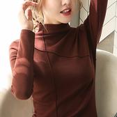 長袖T恤 上衣 打底衫半高領打底衫秋冬內搭新款長袖t恤女保暖上衣潮H412-A 胖丫