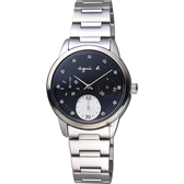 agnes b. 晶鑽誘惑時尚女錶-黑x銀/32mm VD75-00A0D(BP6001J1)