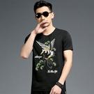 男T恤短袖 韓版潮T 休閒 夏季短袖T恤男 中國風個性飛鷹圖案刺繡印花半袖T恤wx3496