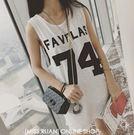 EASON SHOP(GU0498)韓版籃球服原宿bf數字英文字母印花寬鬆中長款無袖T恤背心球衣圓領黑色白色純色