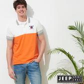 【JEEP】復古時尚休閒短袖POLO衫-白