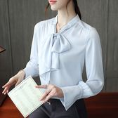 2018秋季新款韓版立領蝴蝶結雪紡衫通勤修身上衣女長袖
