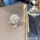 戒指 新款戒指爆款女珍珠裝飾網紅女生潮人食指個性花朵開口指環 生活主義
