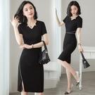 職業洋裝 職業連身裙女夏季黑色氣質OL收腰顯瘦美容師包臀一步裙工作服-Ballet朵朵