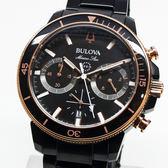 [萬年鐘錶]  BULOVA寶路華   200M防水 三眼 計時碼錶  黑錶面  IP鍍黑鋼帶 男錶 98B302