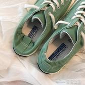 (快出) 半拖鞋無後跟帆布鞋女春季百搭韓版街拍學生踩腳一腳蹬懶人半拖